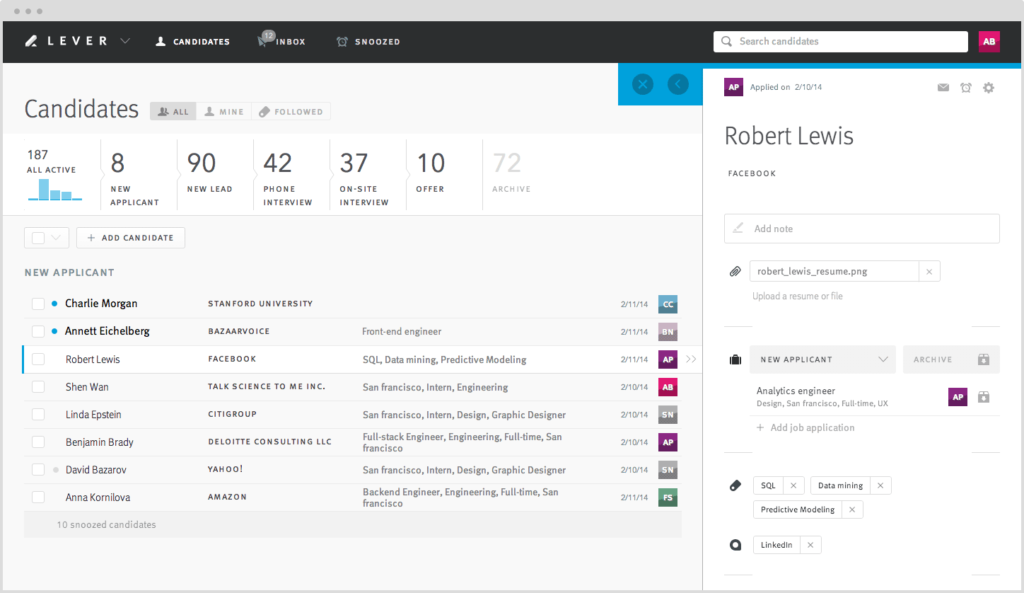 Lever platform screenshot recruitment software